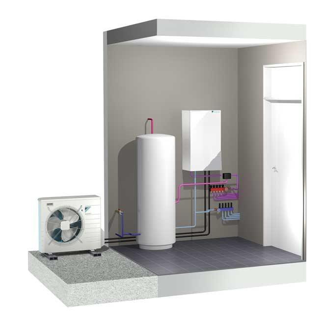 Luft-vatten LT split väggmonterad med tank