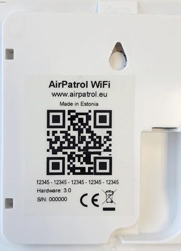 AirPatrol WiFi serienummer QR