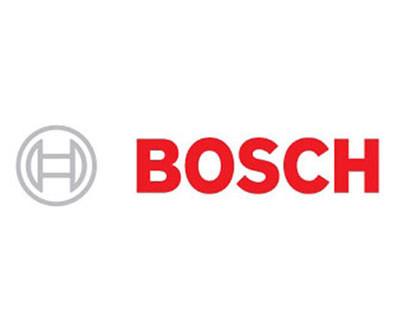 Bosch logga i rött mot vit bakgrund. Märke i grått.