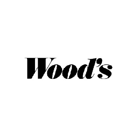 Woods logga i svart mot vit bakgrund.