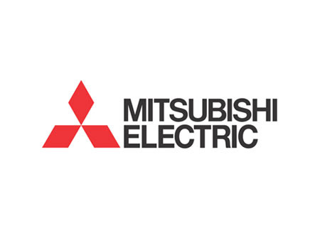 Mitsubishi Electric logga med namn i svart och märke i rött.
